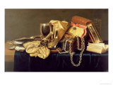 Still Life of a Jewellery Casket, Books and Oysters Giclée-Druck von Andries Vermeulen