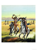 Unidentified Indians Whipping Their Horses On Giclee Print by Ron Embleton