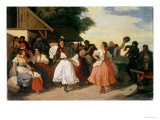 Village Wedding Feast Giclee Print by Karoly Lotz