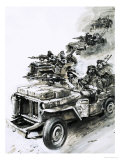 David Stirling Leads 'stirling's Raiders' Against German and Italian Air Forces in North Africa Giclee Print by Graham Coton