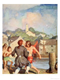 Johnny's Fight with Cherry Giclee Print by Newell Convers Wyeth