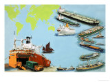 Montage of Ships from the Very Large Crude Carrier to Far Smaller Cargo and Passenger Ships Giclee Print by Clifford Meadway