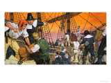 The Pilgrim Fathers Prepare For Their Voyage Across the Atlantic Giclee Print by Angus Mcbride