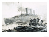 The Queen Mary Runs Into Her Escort, the Curacoa, Sinking the Ship Giclee Print by Graham Coton