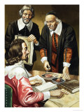 Charles I and William Harvey Discussing the Heart Giclee Print by Ron Embleton
