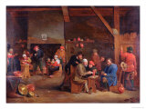 Tavern Interior with Card Players Giclee Print by Victor Mahu