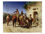 Gypsy Family on the Road, c.1861 Giclee Print by Achille Zo