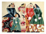 Four Russian Peasants with a Child Giclee Print by Pavel Tchelitchev
