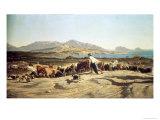 Cattle Herding Near Marseilles, 1853 Giclee Print by Emile Loubon