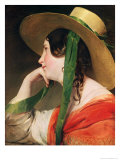 Girl in a Yellow Straw Hat Reproduction proc&#233;d&#233; gicl&#233;e par Friedrich Von Amerling