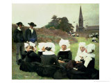 Breton Women Sitting at a Pardon Giclee Print by Pascal Adolphe Jean Dagnan-Bouveret