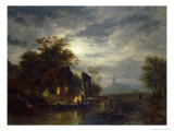 Moonlit River Scene with Figures Unloading a Boat Giclee Print by Georg Gillis Van Haanen