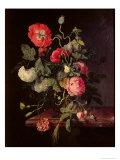 Flowers in a Glass Vase, 1667 Giclee Print by Jacob van Walscapelle