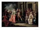 Figures Dancing Outside a Palace Giclee Print by Johann Georg Platzer