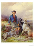 Scottish Boy with Wolfhounds in a Highland Landscape, 1870 Giclee Print by James Jnr Hardy