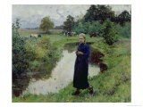 Young Girl in the Fields Giclee Print by Evariste Carpentier