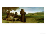 St. Francis of Assisi, While Being Carried to Saint-Marie-Des-Anges, Blesses Assisi in 1226, 1853 Giclee Print by Francois Leon Benouville