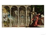 The Annunciation, 1545-50 Giclée-tryk af Paris Bordone