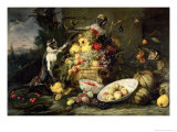 Three Monkeys Stealing Fruit Giclee Print by Frans Snyders Or Snijders