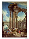 Studying Perspective Among Roman Ruins Giclee Print by Antonio Visentini