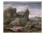 Landscape with Bathers Giclee Print by Agostino Carracci