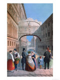 The Bridge of Sighs, Venice, Engraved by Brizeghel Giclee Print by Marco Moro