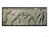 Young Men Wrestling, from a Statue Base Found in the Dipylon Cemetery, Athens, c.510 BC Giclee Print by  Greek