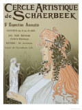 Poster Advertising Schaerbeek's Artistic Circle, Fifth Annual Exhibition, Galerie Manteau, 1897 Lámina giclée por Privat Livemont