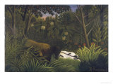 Tiger Attacking a Horse and a Sleeping Black Man Giclee Print by Henri Rousseau