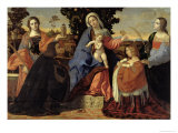 Sacred Conversation with Saints Barbara and Justina Giclee Print by Jacopo Palma