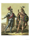 Conquistador with a Native American Chief Giclee Print by Gallo Gallina