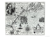 Map of the New England Coastline in 1614, Engraved by Simon de Passe Giclee Print by John Smith