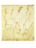 Sketches of a Column and Faces Giclee Print by Michelangelo Buonarroti