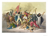 Fight Between Local Indians and Conquistadors Giclee Print by Gallo Gallina