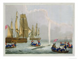 Boats Approaching a Whale, Engraved by Matthew Dubourg Giclee Print by John Heaviside Clark