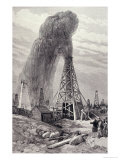 Petroleum Oil Wells, Baku, Caspian: A Fountain of Petroleum Oil, The Illustrated London News, 1886 Reproduction proc&#233;d&#233; gicl&#233;e
