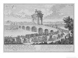 Bridge of Augustus on Via Flaminia, Italy, from Entwurf Einer Historischen Architektur Giclee Print by Johann Bernhard Fischer Von Erlach