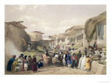 The Main Street in the Bazaar at Caubul, Fruit Season, Sketches in Afghaunistan, Engraved Haghe Giclee Print by James Atkinson