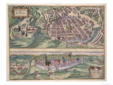 Map of Poznan and Gruczno, from Civitates Orbis Terrarum by Georg Braun Giclee Print by Joris Hoefnagel