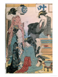 Women of the Gay Quarters, Left Hand Panel of a Diptych Giclee Print by Torii Kiyonaga