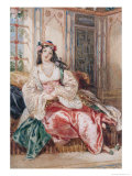 Lady Seated in an Ottoman Interior Wearing Turkish Dress, 1832 Giclee Print by Alfred-edward Chalon