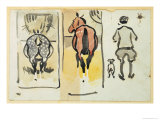 Page from a Scrapbook Containing 43 Sketches Giclee Print by Joseph Crawhall