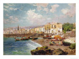 Fishing Boats on the Beach at Marinella, Naples Giclee Print by Carlo Brancaccio