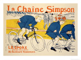 Reproduction of a Poster Advertising 'The Simpson Chain', Paris, 1896 Lámina giclée por Henri de Toulouse-Lautrec