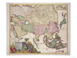 Map of Asia, Tartaria, Japan, the Philippines and East Indies, Engraved G. Van Gouwen, c.1690 Giclee Print by Karel Allard