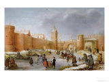 Skaters and Kolf Players Outside the City Walls of Kampen Giclee Print by Barent Avercamp