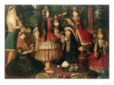 Women and Children in a Garden, 19th Century Giclee Print