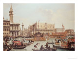 View of the Doge's Palace and the Piazzetta, Venice Giclee Print by Giuseppe Bernardino Bison