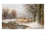 Shepherdess with Her Flock in a Winter Landscape Giclee Print by Alexis De Leeuw