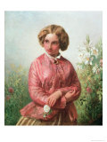 Portrait of a Young Girl with a Rose Giclee Print by Abraham Solomon